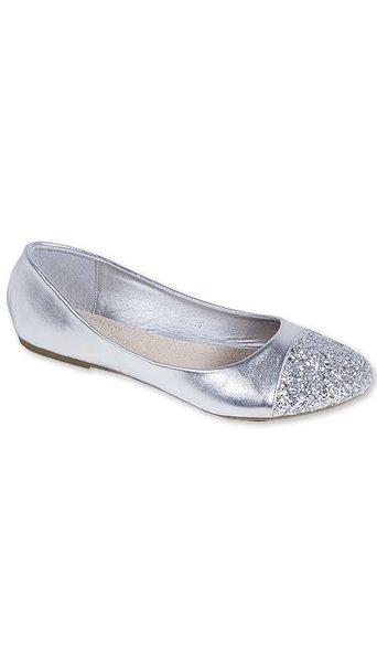 GLZK 2 Ballerina's metallic zilver