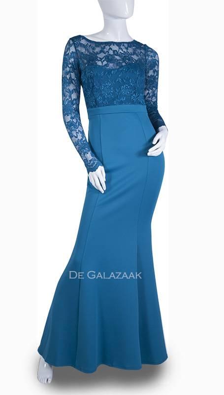Lange blauwe galajurk