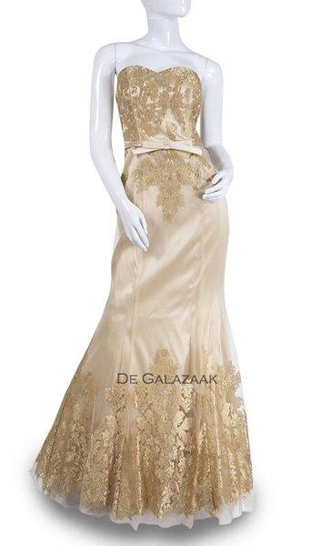 Gouden lange jurk 3575