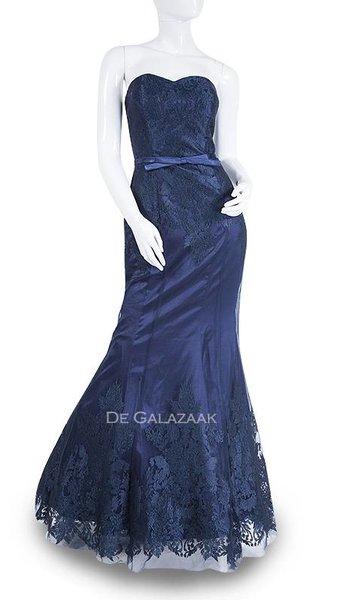 Navy blauwe lange jurk  3574