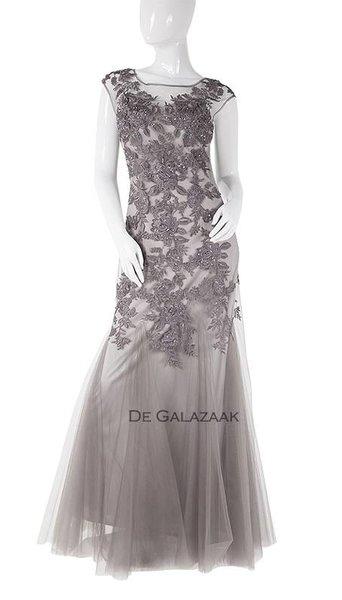 Lange jurk met tule  3727