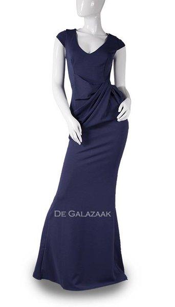 Blauwe lange jurk  3736