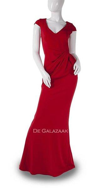 Rode lange jurk  3737