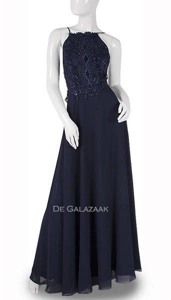 Navy blauwe lange jurk 3743