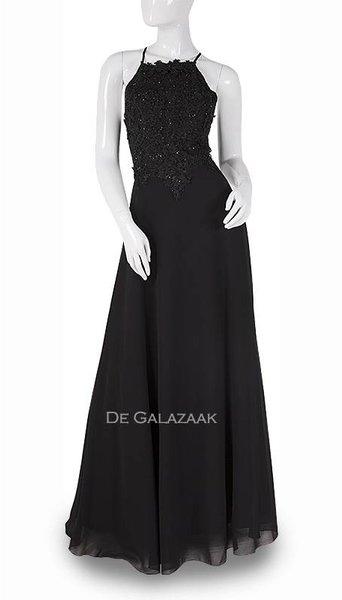 Zwarte lange jurk 3744