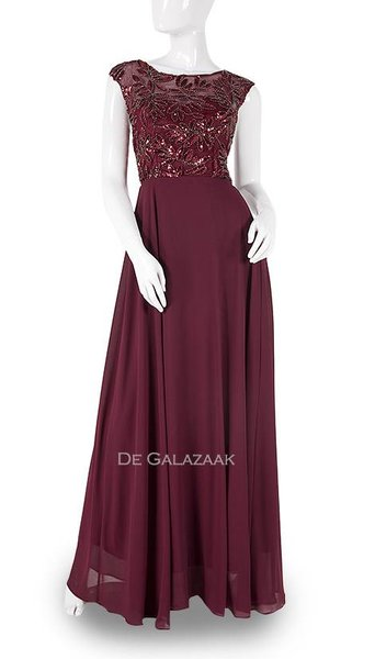 Bordeaux kleurige lang jurk  3781