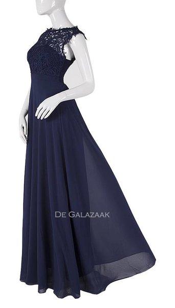 Downtown girl Navy blauwe lange jurk met kanten top