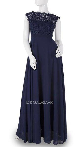 Navy blauwe lange jurk  3777