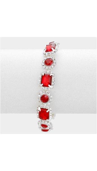 Armband met rode stenen 3887
