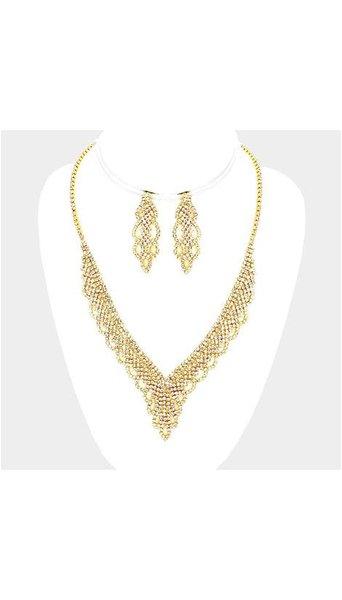 GLZK 1 Gouden collier set met oorbellen
