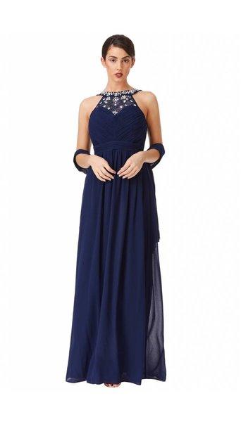 Navy blauwe lange jurk  3862