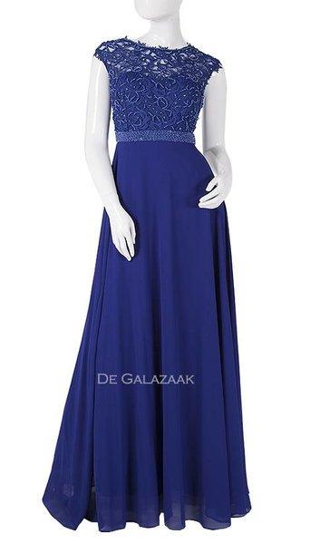 Blauwe lange jurk  3881
