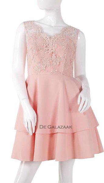 Poeder roze feest jurk  3854