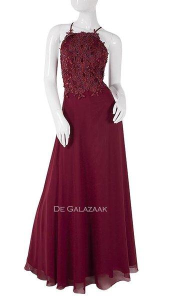 Bordeaux lange jurk  3937