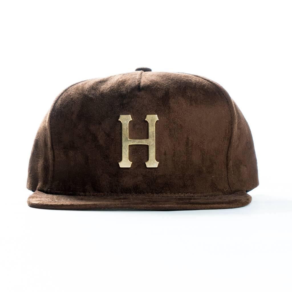 HUF HUF    Metal H Suede Snapback Cap - Chocolate