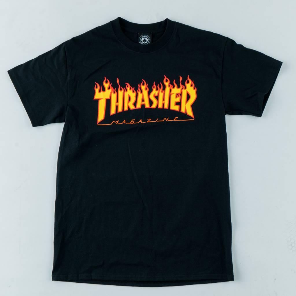 Thrasher Skateboard Magazine Thrasher Flame Tee | Black