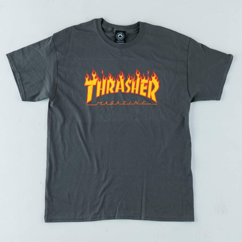 Thrasher Skateboard Magazine Thrasher Flame Tee | Charcoal