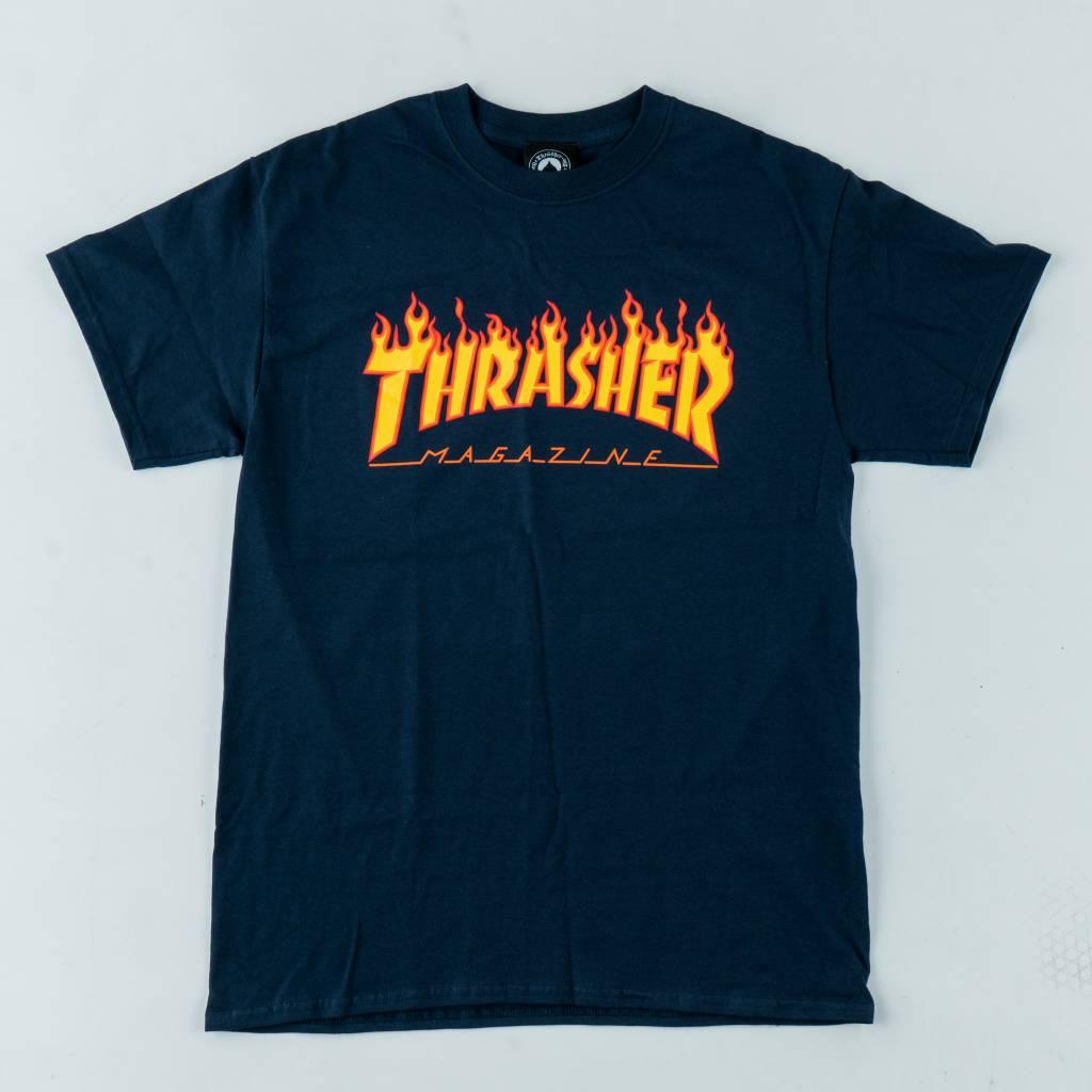 Thrasher Skateboard Magazine Thrasher Flame Tee | Navy
