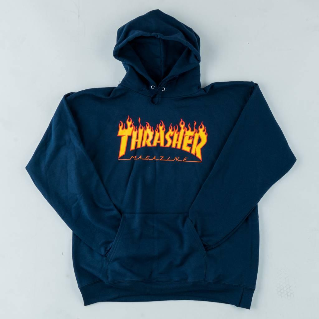 Thrasher Skateboard Magazine Thrasher Flame Hooded Sweathirt | Navy