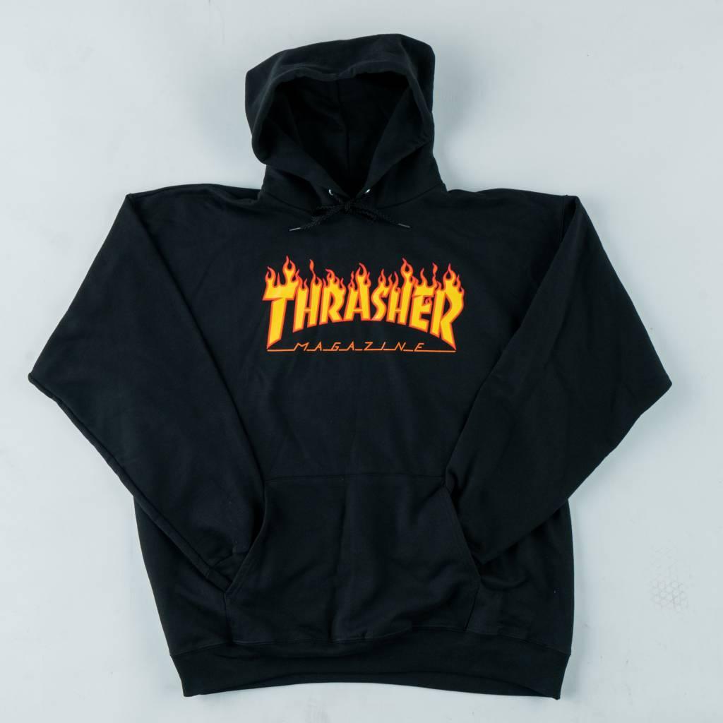 Thrasher Skateboard Magazine Thrasher Flame Hooded Sweathirt | Black