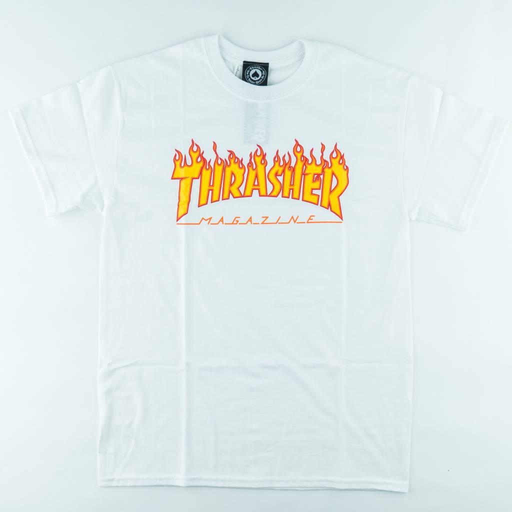 Thrasher Skateboard Magazine Thrasher Flame Tee | White