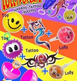 Sucette + jouet surprise + tattoo enfant par 12 pièces