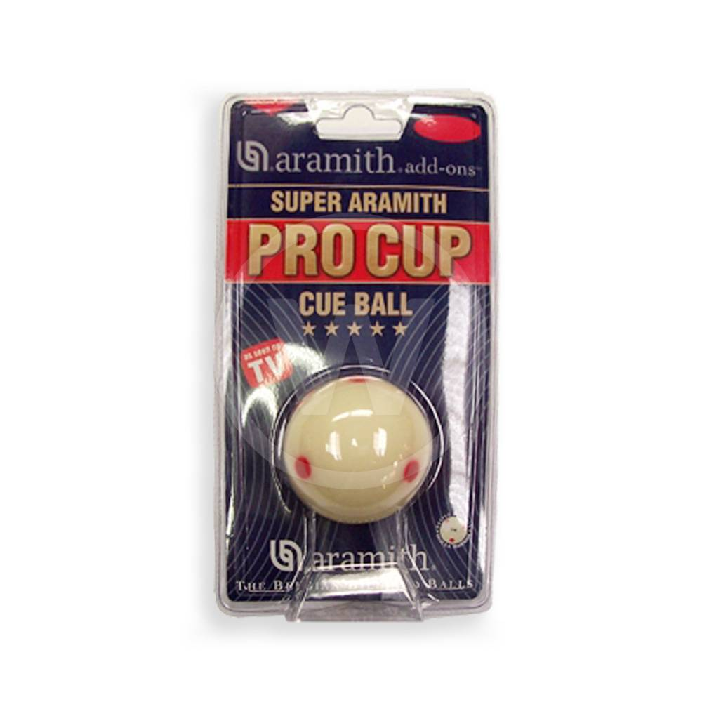 bal wit met rode stippen, Pro Cup cue ball 57.2 mm (Maat: 57.2 mm)