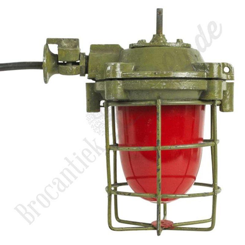 """Industriële lamp """"Stoky"""" met rood glas"""