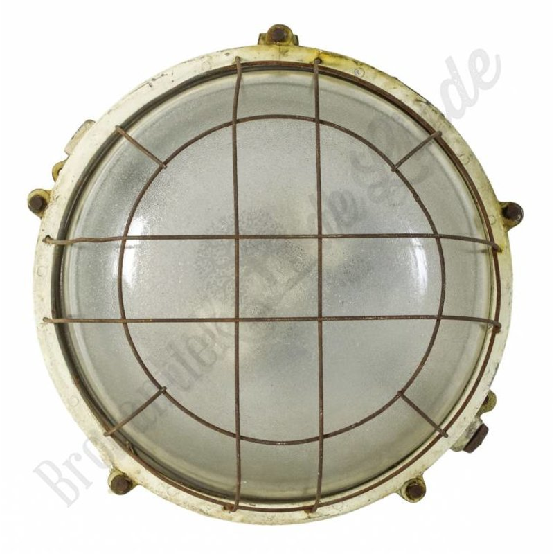 "Industriële wandlamp / oude fabriekslamp ""Caged Turtle White"""