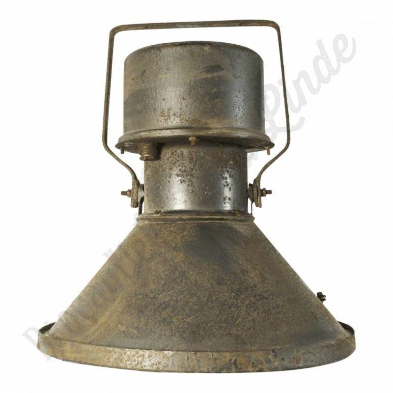 """Oude fabriekslamp """"Teplice Junior"""" met glasplaat"""