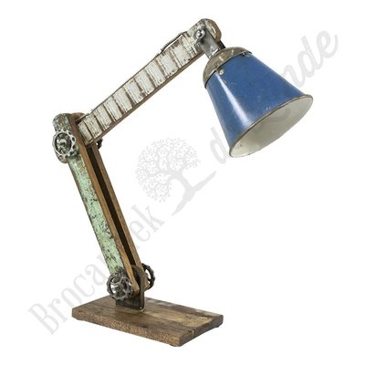 "Bureaulamp ""Wood & Blue Iron"""