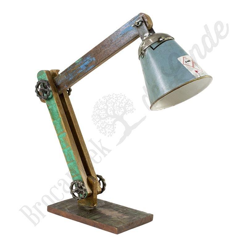 Industri le bureaulamp wood grey iron bij brocantiek for Industriele bureaulamp