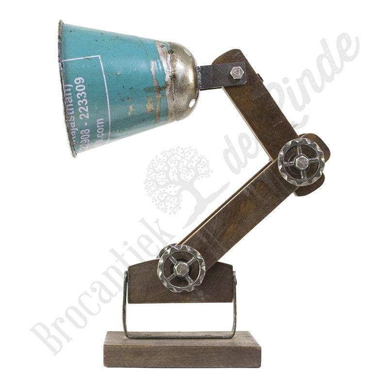 """Industriële wandlamp """"Wood & Blue Iron"""""""
