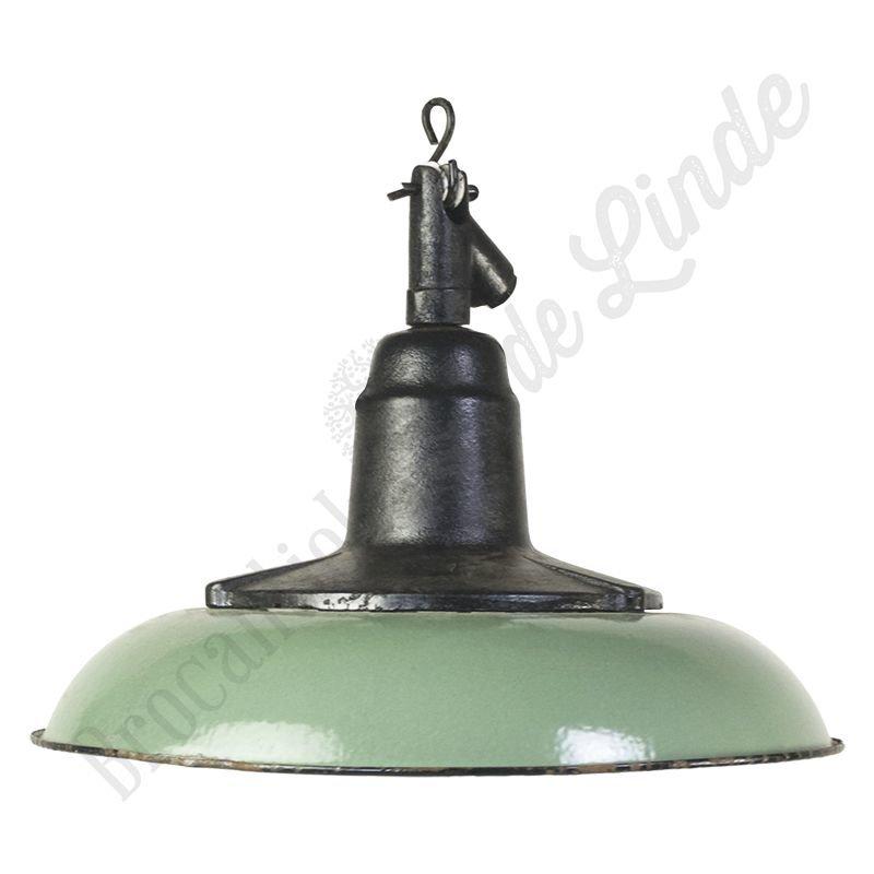 "Industriële Bauhaus lamp ""Green Cast Flower"" - emaille en gietijzer"