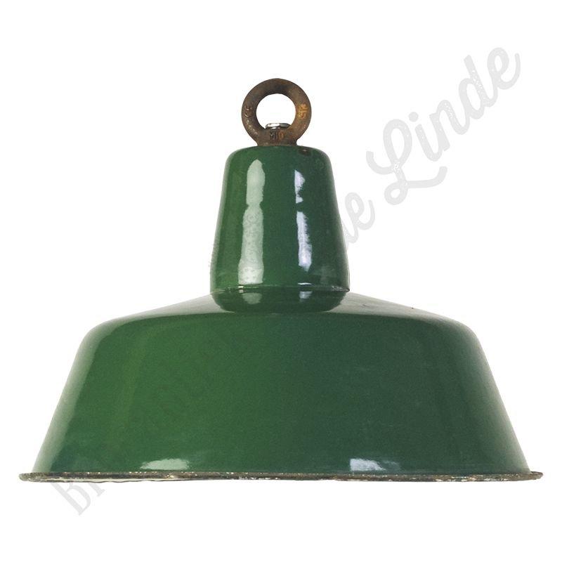 """Vintage emaillen Bauhaus lamp """"Green No.1"""""""