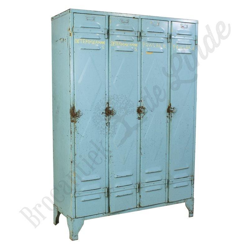 Industriële lockerkast vierdeurs blauw staal, vintage locker