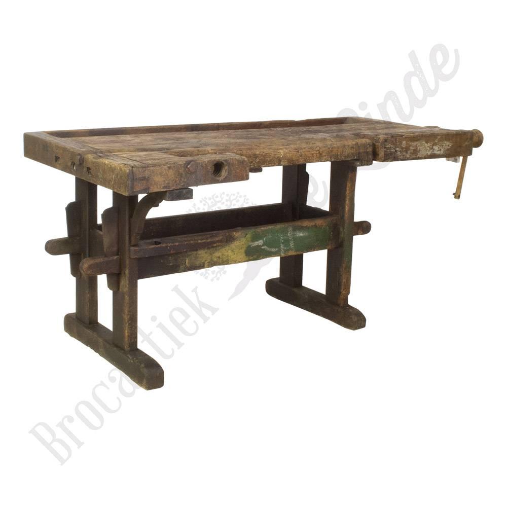 Antieke industriële houten werkbank vintage - Brocantiek ...