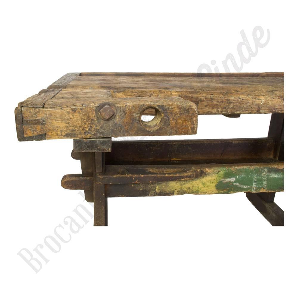 Antieke industri u00eble houten werkbank vintage   Brocantiek de Linde