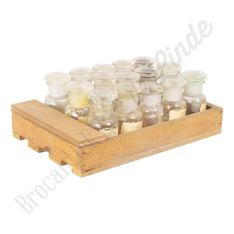Set oude apothekersflesjes in houten tray - Nr. 2