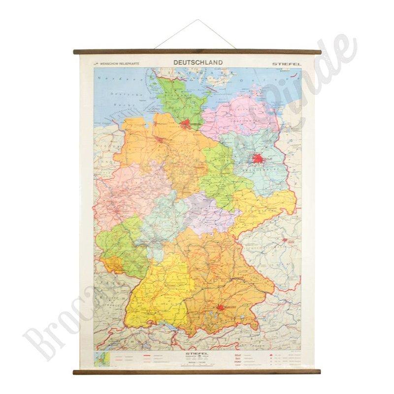 Vintage landkaart/schoolplaat Duitsland Stiefel
