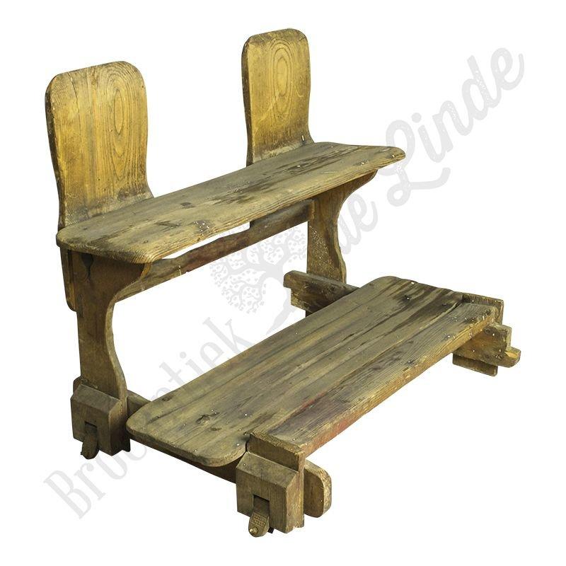 """Antiek houten schoolbankje """"Rettigs"""""""
