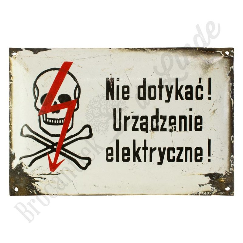 Poolse waarschuwingsbordjes gemaakt van emaille