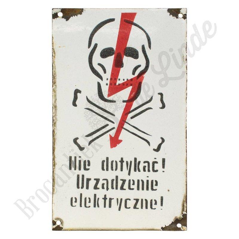 Poolse metalen waarschuwingsbordjes