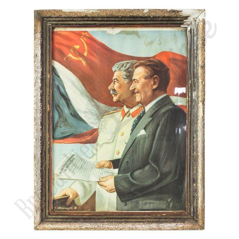 Vintage portret van  Stalin en Gottwald