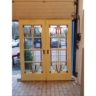 En suite deuren met glas in lood Art Deco A'dam