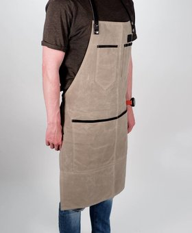Grill Guru BBQ Schort Dyed Canvas & Leather Beige