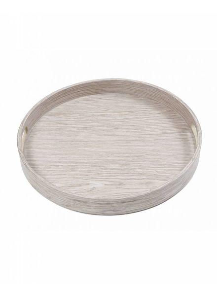 Tablett rund Pinie grau