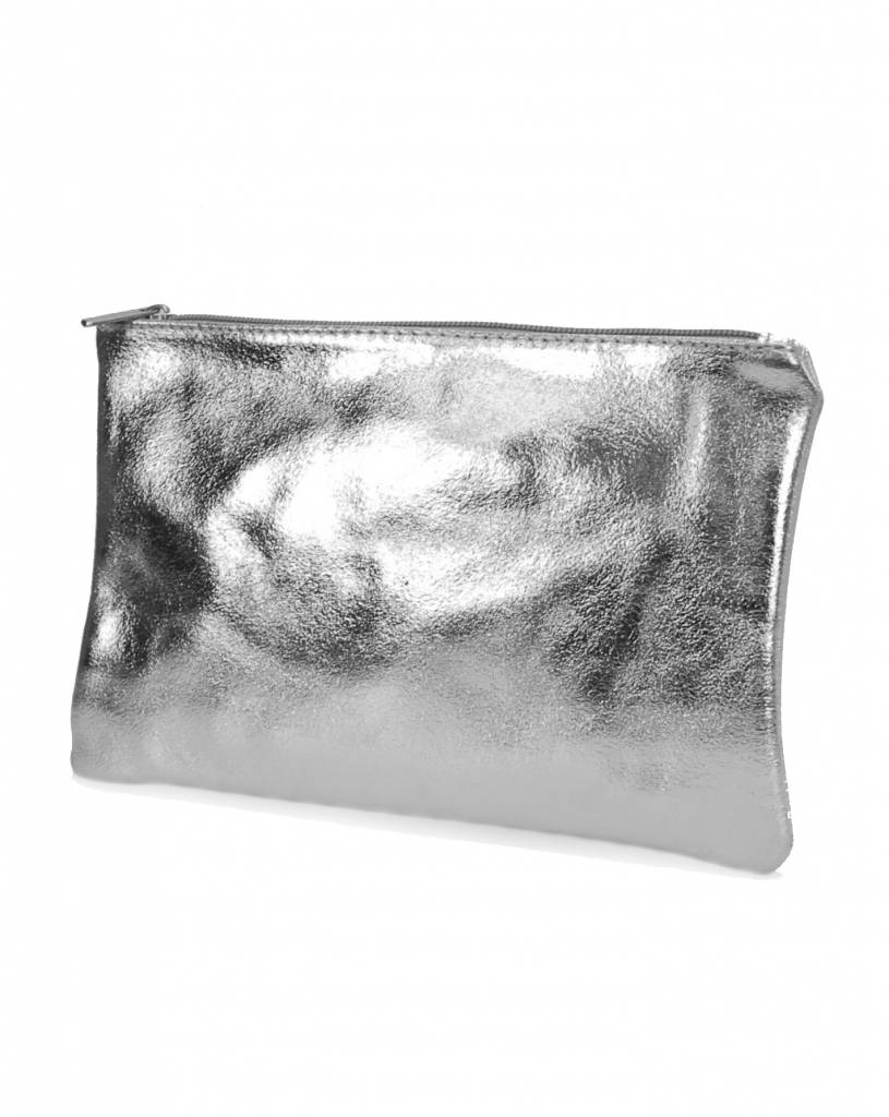 Clutch/Kosmetik Silber-Metallic