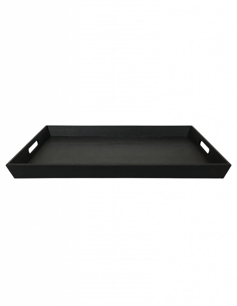 Tablett rechteckig Pinie schwarz