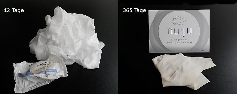 Das nu:ju® Abschminktuch im Vergleich mit feuchten Reinigungstüchern